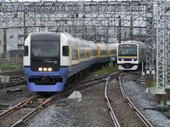 """京葉線からの""""わかしお""""号と、右は千葉からの列車"""