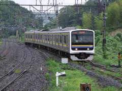 大網駅から蘇我方面を望む…左が外房線の線路で、写真の列車は、東金線に入るところです