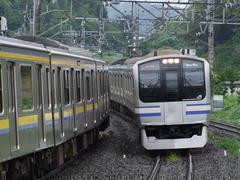 朝夕は、横須賀線からのE217系も乗り入れます
