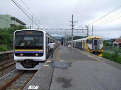 太東駅にて、特急列車に抜かれます
