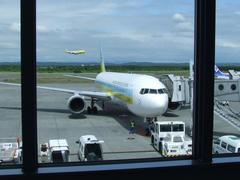新千歳空港で出発を待ちます
