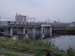 綱島駅を出て、鶴見川を渡ります