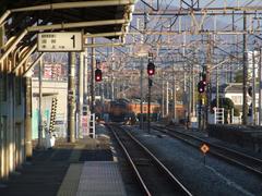 渋川駅の先で、右に曲がっていくのは上越線