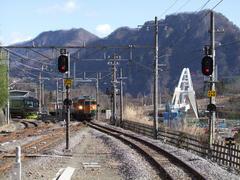 高架橋と交わり、長野原草津口駅に進入