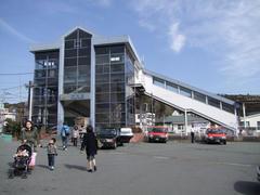 富士山をイメージした駅舎、岩波駅