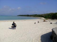 竹富島のコンドイ・ビーチにて