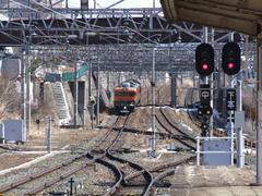 小諸駅から、軽井沢方向を望む…一番右の線路が小海線