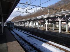 屋代駅…一番奥に、旧屋代線のホームが見えます