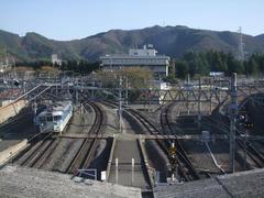 塩尻駅にて…右が中央西線で、左が中央東線です