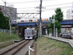 西武新宿線(下)を跨ぐ東武東上線(上)