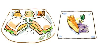 ハムとレタスのサンド・ベイクドチーズケーキ