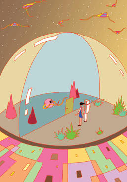 "POP image ""Society in the future"" Illustration, Images and Pictures - 「Transparent dome」"