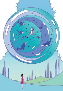 "POP image ""Society in the future"" Illustration, Images and Pictures - 「Globe aquarium」"