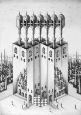 "Monochrome ""Pencil drawing"", Images and Pictures - 「Tower of different dimension」"