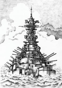 Imagination Illustration, Images and Pictures - 「Reviving huge battleship」