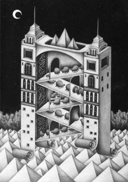 "Monochrome ""Pencil drawing"" Illustration, Images and Pictures - 「Clock tower of different space」"