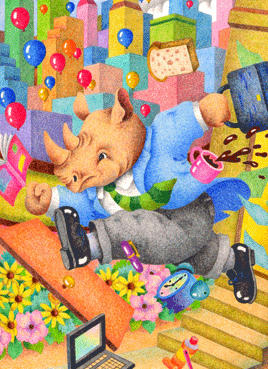 Animal Illustration, Images and Pictures - 「Rhino's businessman」