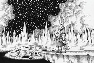 "Monochrome ""Ink drawing"" Illustration, Images and Pictures - 「Travel to the moon world」"