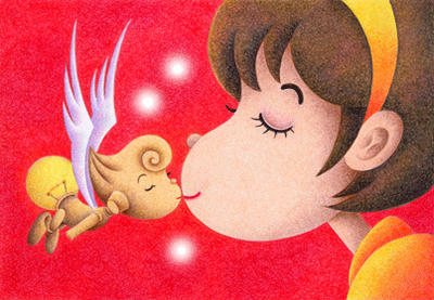 Lovely fairy Illustration, Images and Pictures - 「Kiss」
