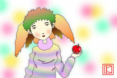 Cute girl Illustration, Images and Pictures - 「It is as lovely as the apple」