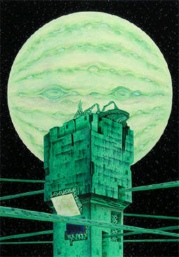 "COSMOS ""Space and Planet"" Illustration, Images and Pictures - 「Fortress in satellite」"