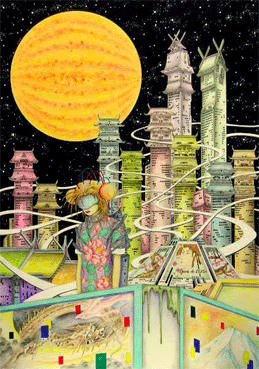 "COSMOS ""Space and Planet"" Illustration, Images and Pictures - 「Futuristic city in planet」"