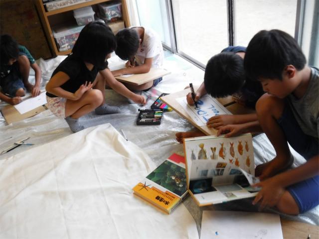 月曜日かたちクラス 「竹筏プロジェクト 旗作り」