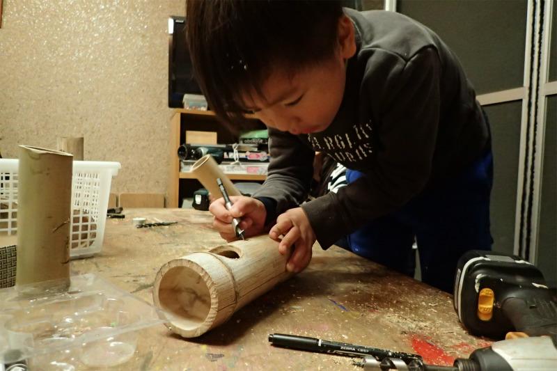 月曜日かたちクラス 「竹灯り制作 続き」