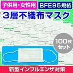 【子供用マスク】新型インフルエンザ対策3層不織布マスク100枚セット(50枚入り×2)