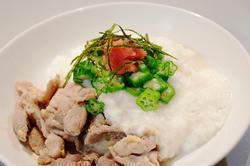 山芋とオクラのネバネバ生姜焼き丼