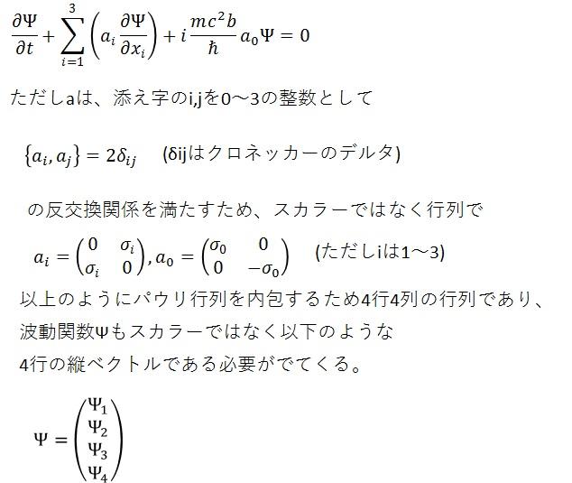 ディラック方程式∂ψ/∂t+ax∂ψ/∂x+ay∂ψ/∂y+az∂ψ/∂z+imc^2Ψ/ħ=0