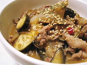茄子と豚肉のピリ辛味噌煮込み