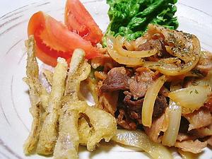 豚肉の味噌バター炒め&ゴボウの唐揚げ