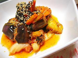 夏野菜とシーチキンのキムチ炒め