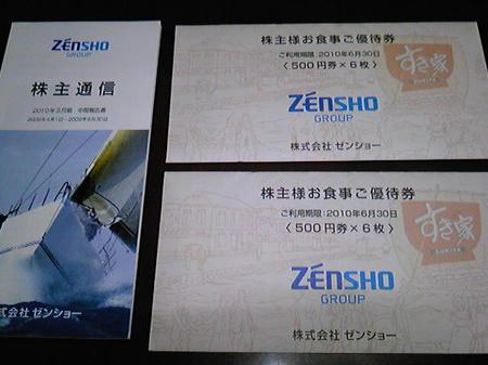 ゼンショーの株主優待画像