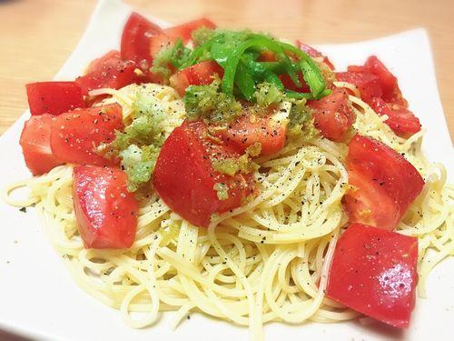 簡単トマトの冷製パスタ