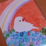 白文鳥とアジサイ…そして背景のオレンジがステキなポストカード