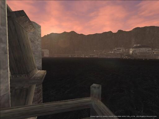 夕暮れに港を望む