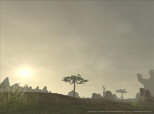 夜明けの平野にて陽を望む