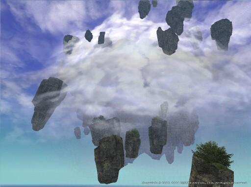 海岸にて浮かぶ岩塊群を望む