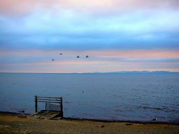 早朝、幻想的な空
