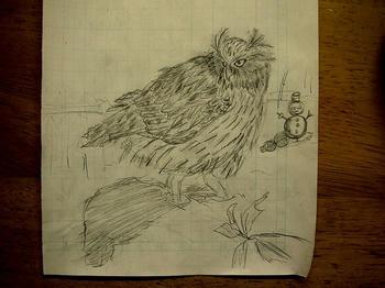 雪面に立つシマフクロウを描いたつもり