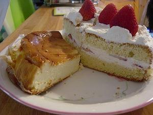 チーズケーキといちごケーキ
