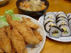 ささみフライと巻き寿司