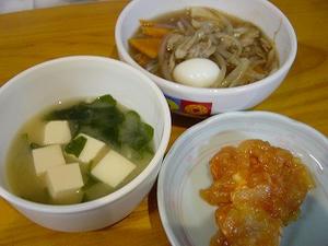 辛くないエビチリ・もやしあんかけ・豆腐とわかめのお味噌汁