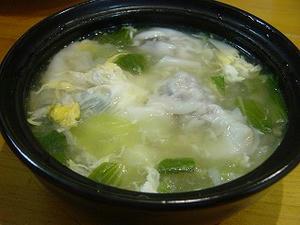 レンコン入りワンタンの卵スープ