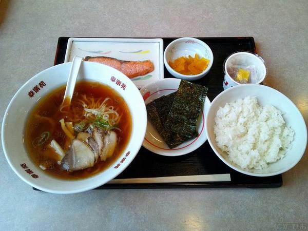 朝中華・鮭納豆定食