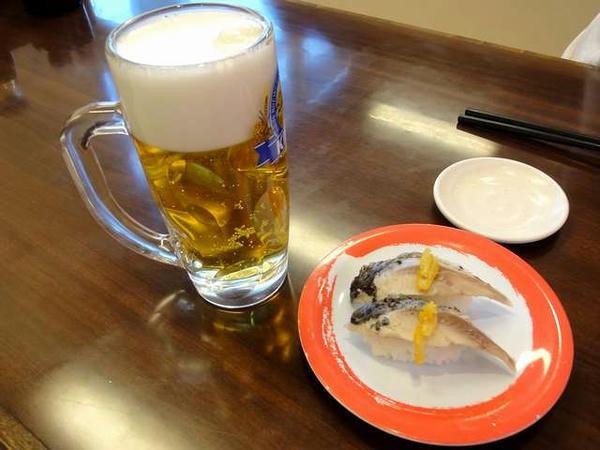 回転寿司でささやかに乾杯