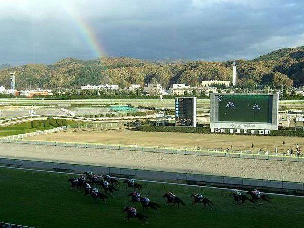 虹をバックに第10レース最後の直線を走る競走馬たち