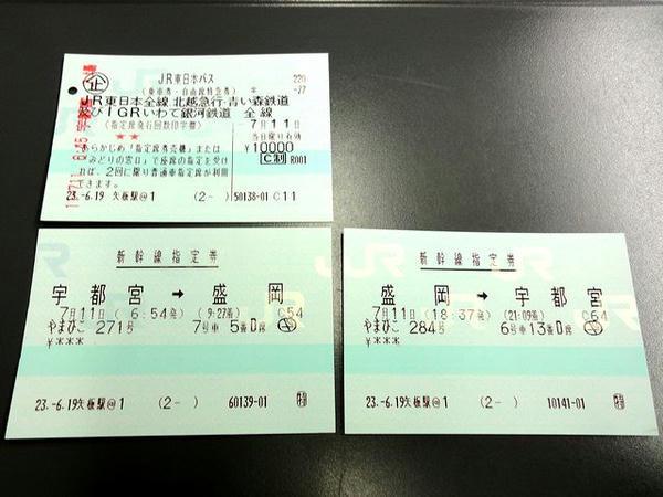 JR東日本パスと往復の新幹線指定券
